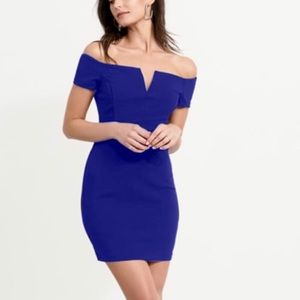 Dynamite Bodycon Off-The-Shoulder Royal Blue Dress